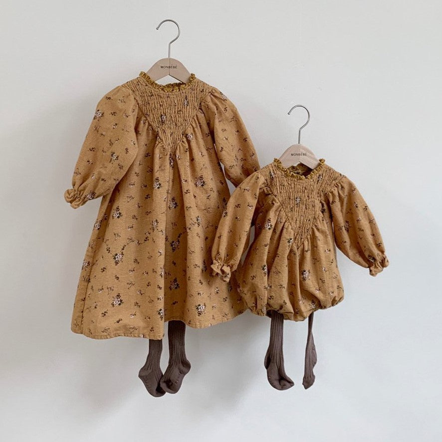 Girls Smocked Yoke Dress (1-4y) - Mustard Floral