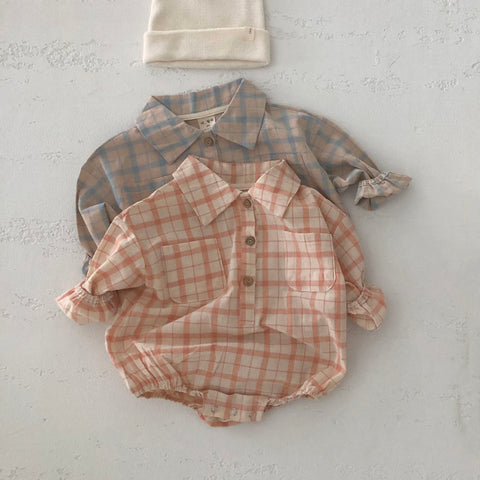 Baby Spring Flannel Shirt Romper - Orange