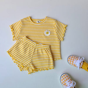 Baby Striped Daisy Embroidery Top and Shorts Set (3-24m) - Yellow