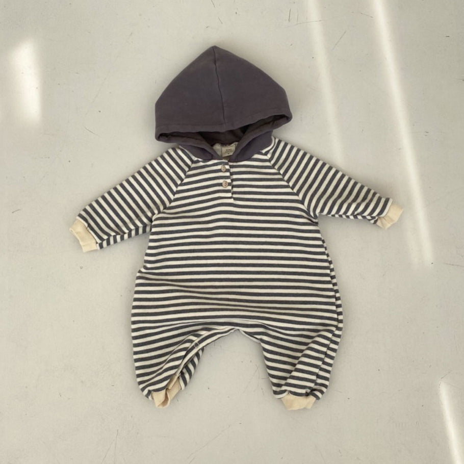 Baby Striped Hooded Romper (3-18m)  - Charcoal