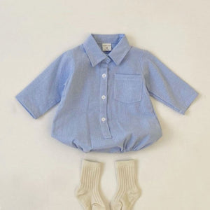 Baby Striped Shirt Romper (0-18m) -Blue