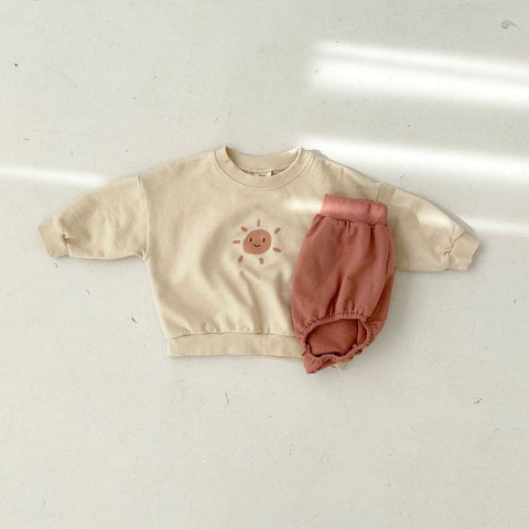 Baby Sun Sweatshirt and Bloomer Shorts Set