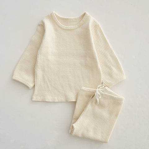 Baby Toddler 3/4 Sleeve Top and 7/8 Pants Set (1-5y) - Cream