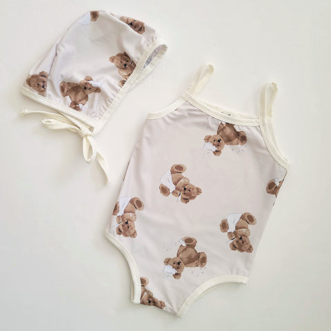 Baby Toddler Bear Print One-Piece Swimsuit and Swim Hat Set (1-3y)