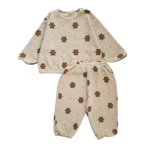 Baby Toddler Bear Print Waffle Top and Pants Set (3m-5y) -Oatmeal