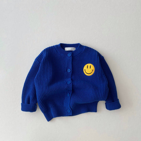 Baby Toddler Smiley Face Patch Button-Front Cardigan (1-5y) - Blue
