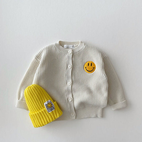 Baby Toddler Smiley Face Patch Button-Front Cardigan (1-5y) - Ivory