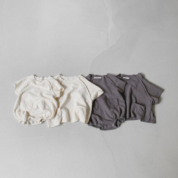 Baby Toddler Two Pocket Short Sleeve Tee (1-4y) - Cream, Charcoal