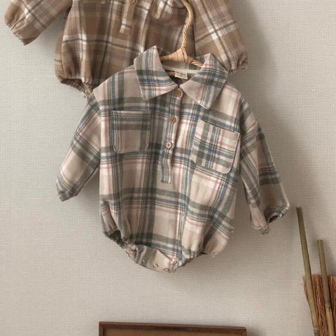 Baby Winter Flannel Shirt Romper - Beige&Blue