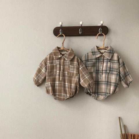 Baby Winter Flannel Shirt Romper - Brown&White