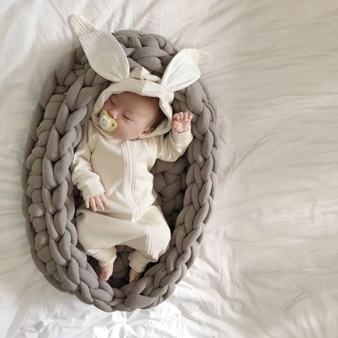 Baby Bunny Hooded Romper -Ivory