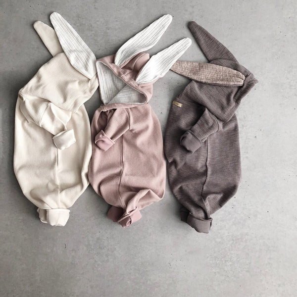 Baby Bunny Hooded Romper -Pink