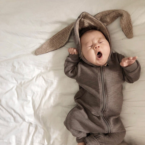 Baby Bunny Hooded Jumpsuit -Gray