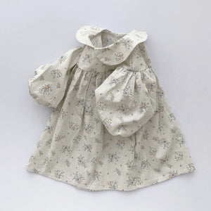 Girls Peter Pan Collar Dress (0-4y) - Ivory Floral