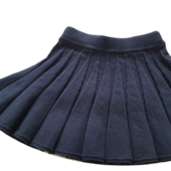 Girls Pleated Knitted Skirt (3-6y)- Navy
