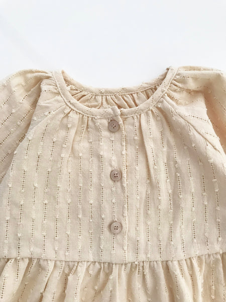 Girls Cream Cotton Swiss Dot Dress (2-6y)