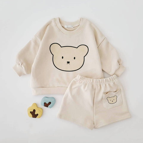 Baby Kids Bear Face Sweatshirt and Shorts Set (4m-6y) - Cream