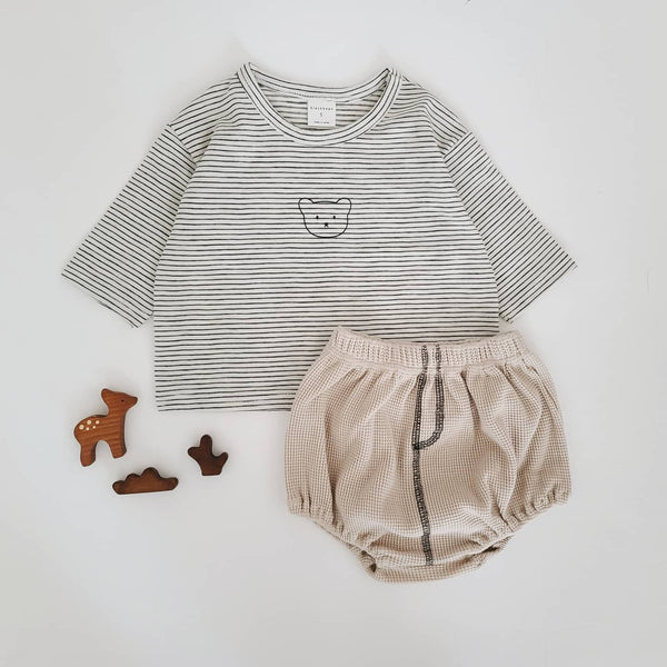 Baby Bear Face Striped Long Tee and Waffle Bloomer Shorts Set (4-15m) - Cream