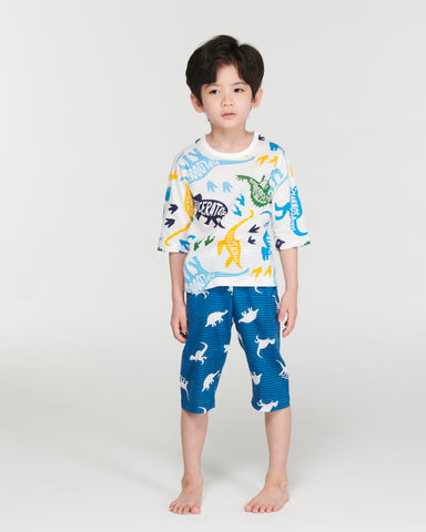 Boys 3/4 Sleeve 2 Piece Cotton Pajama Set - Dinosaur