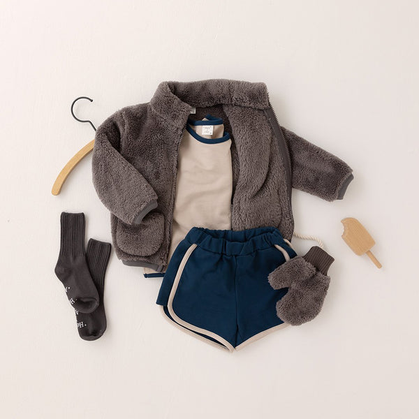 Kids Fluffy Fleece Pocket Jacket (15m-6y) - Charcoal