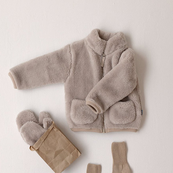 Kids Fluffy Fleece Pocket Jacket (3-6y) - Latte Brown