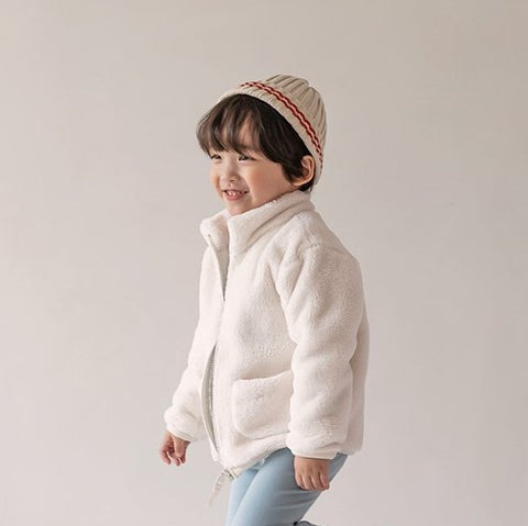 Kids Fluffy Fleece Pocket Jacket (15m-6y) - Milk White