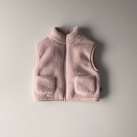 Kids Fluffy Fleece Pocket Vest (15m-6y) - Pink