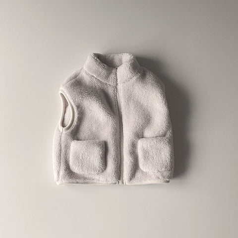 Kids Fluffy Fleece Pocket Vest (15m-6y) - Ivory
