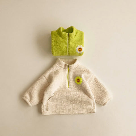 Kids Half-Zip Fleece Pullover (2-5y) - Cream