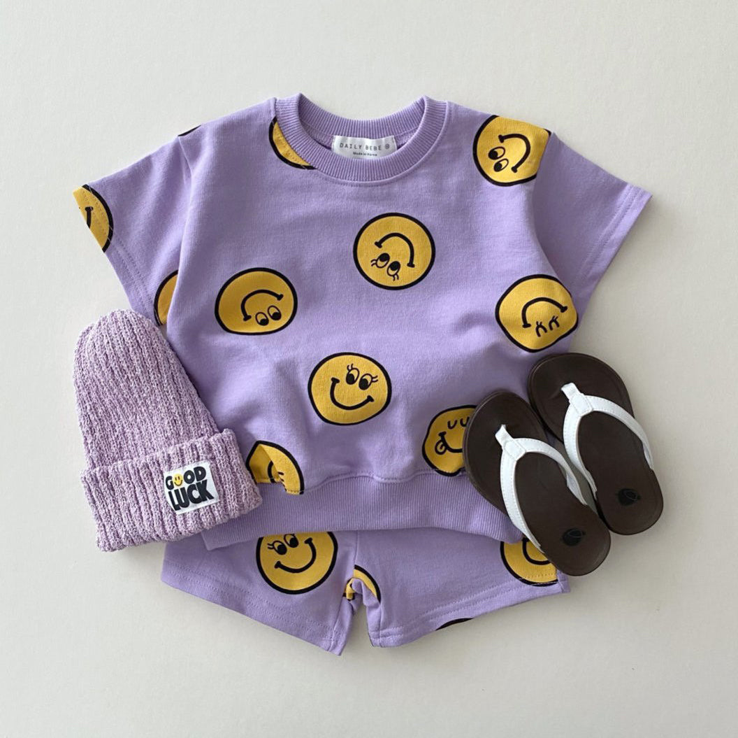 Kids Short Sleeve Smiley Face Top & Shorts Set (1-5yrs) - Purple