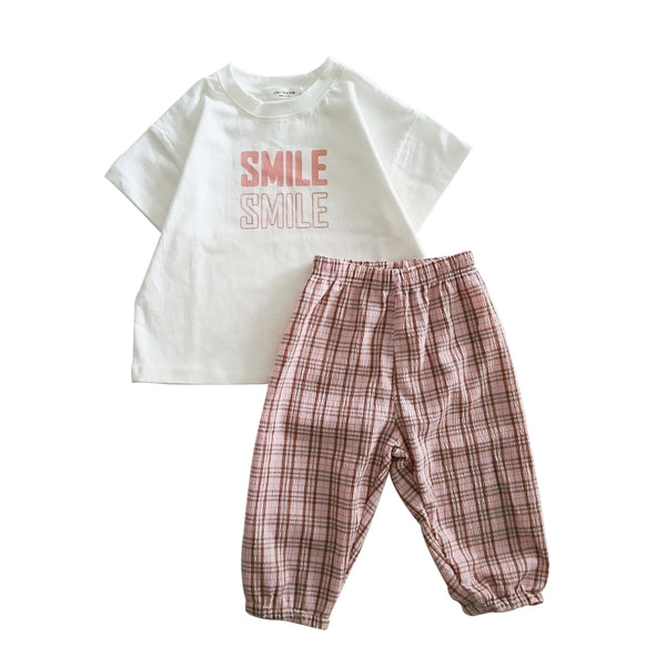 Kids Smile T-Shirt and Summer Plaid Pants Set (16m-6y) - Pink