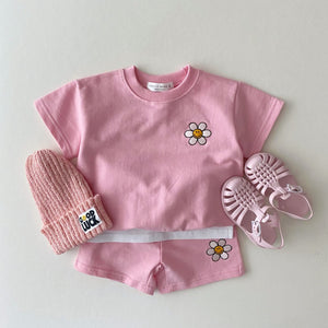 Kids Smiley Flower Short-Sleeved Sweatshirt & Shorts Set (1-5yrs) - Pink
