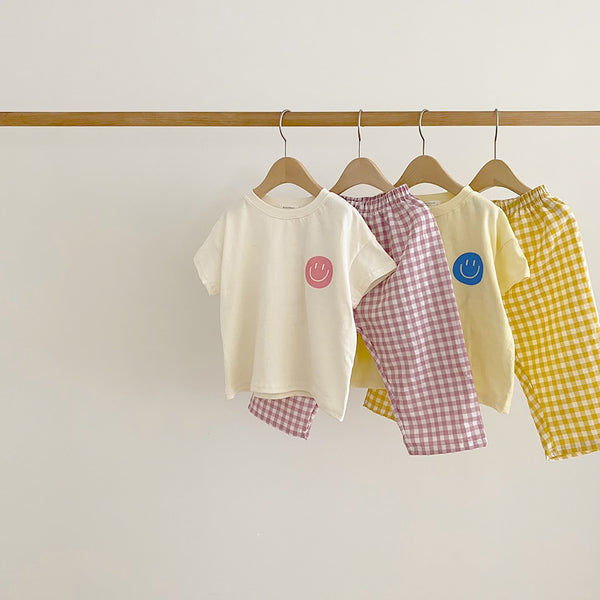 Kids Smiley T-shirt and Gingham Pants Set  (2-5y) - Yellow
