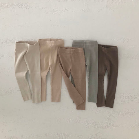 Kids Soft Cotton Ribbed Leggings (1-4yrs) - 5 colors