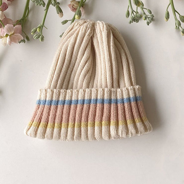 Kids Striped-Cuff Beanie - Salmon Pink