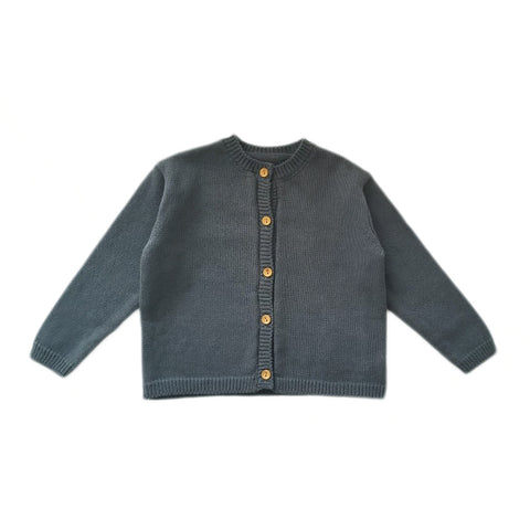 Kids Knit Cotton Cardigan -Dark Green