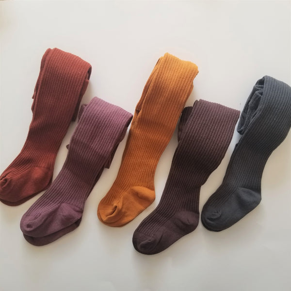 Ribbed Tights - Tree Brown, Red bean, Mustard Yellow, Chocolate, Gray (3-4yrs)