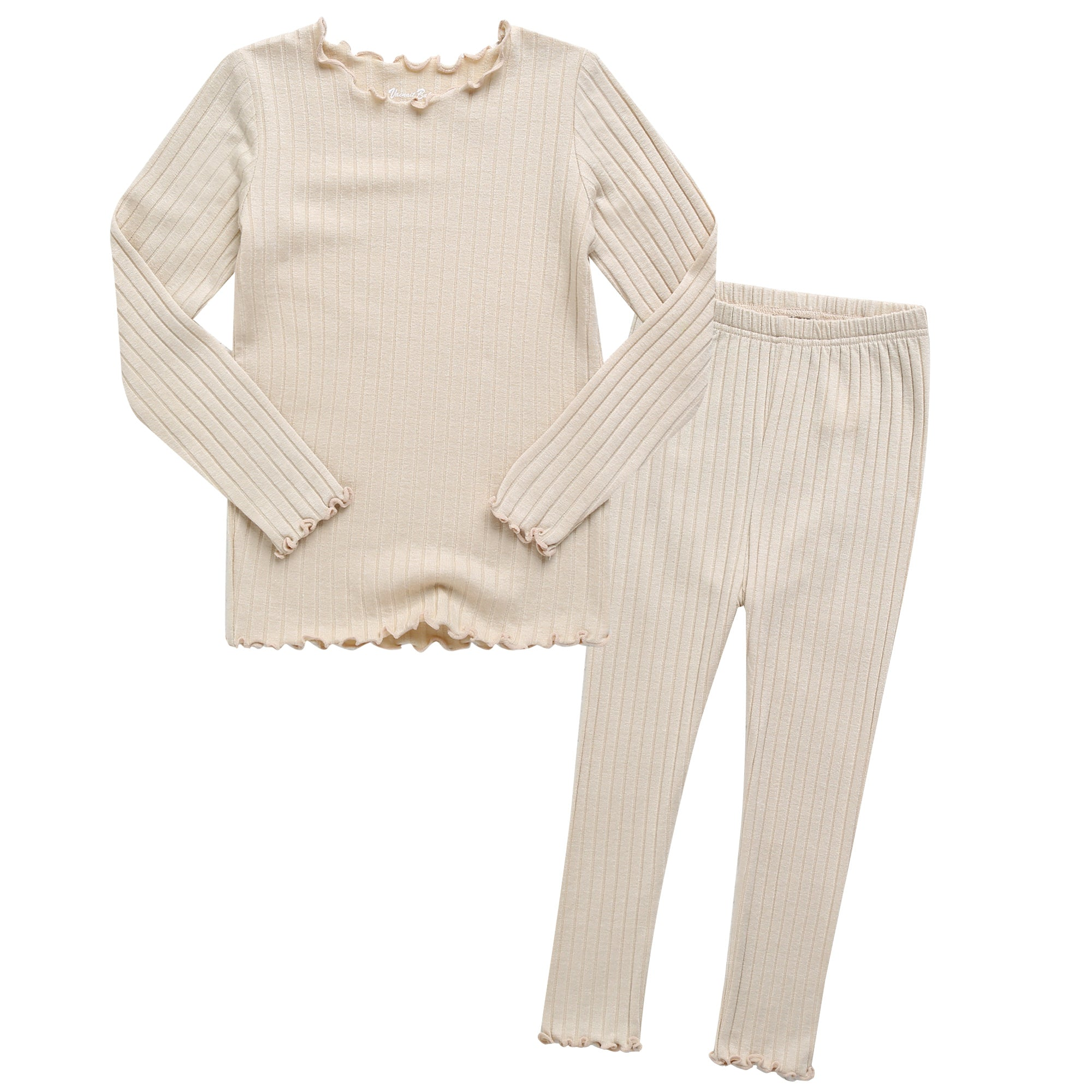 Toddler Kids Lettuce-Edge Ribbed Long Sleeve Top and Leggings 2 Piece Set - Ivory