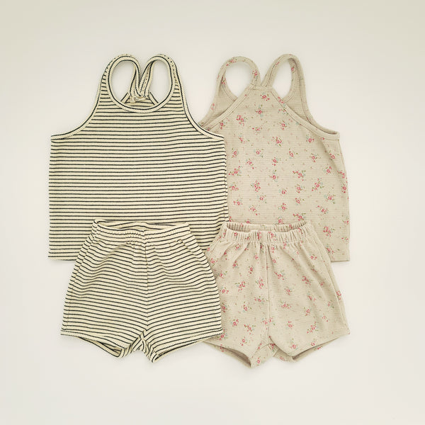 Toddler Ribbed V-Back Top and Shorts Set (1-5y) - Striped