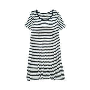 Women Striped Short Sleeve Built-in Bra Dress - Black