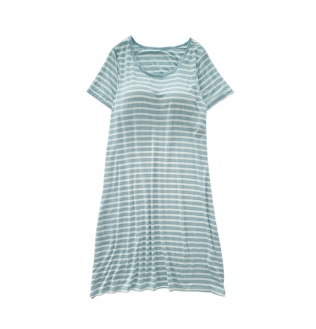 Women Striped Short Sleeve Built-in Bra Dress - Green