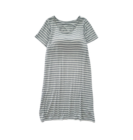 Women Striped Short Sleeve Built-in Bra Dress - Grey