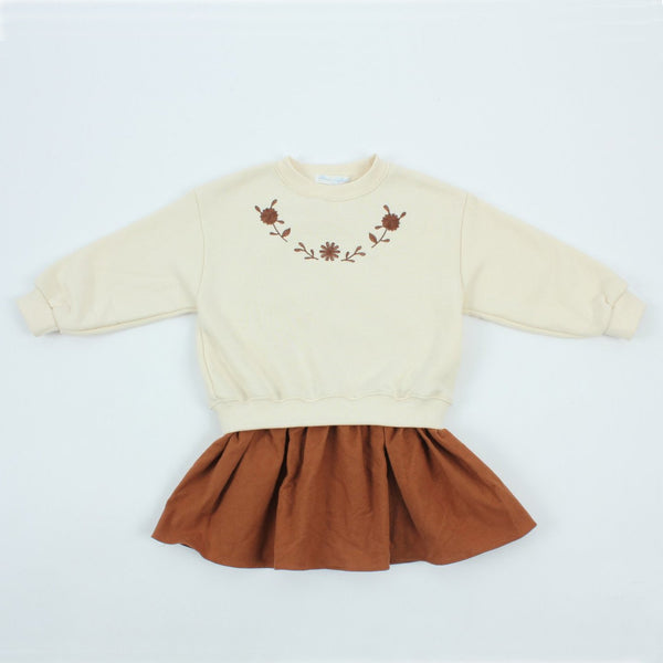 Girls Embroidered 2 in 1 Sweatshirt Dress (3-4y)- Cream