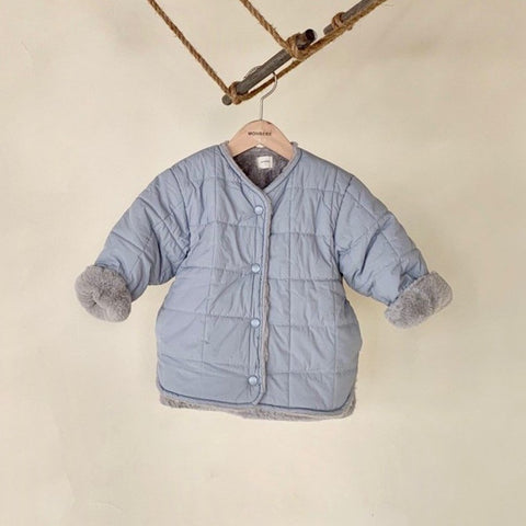 Faux Fur Reversible Puffer Jacket (2-4yrs) - Blue/Gray