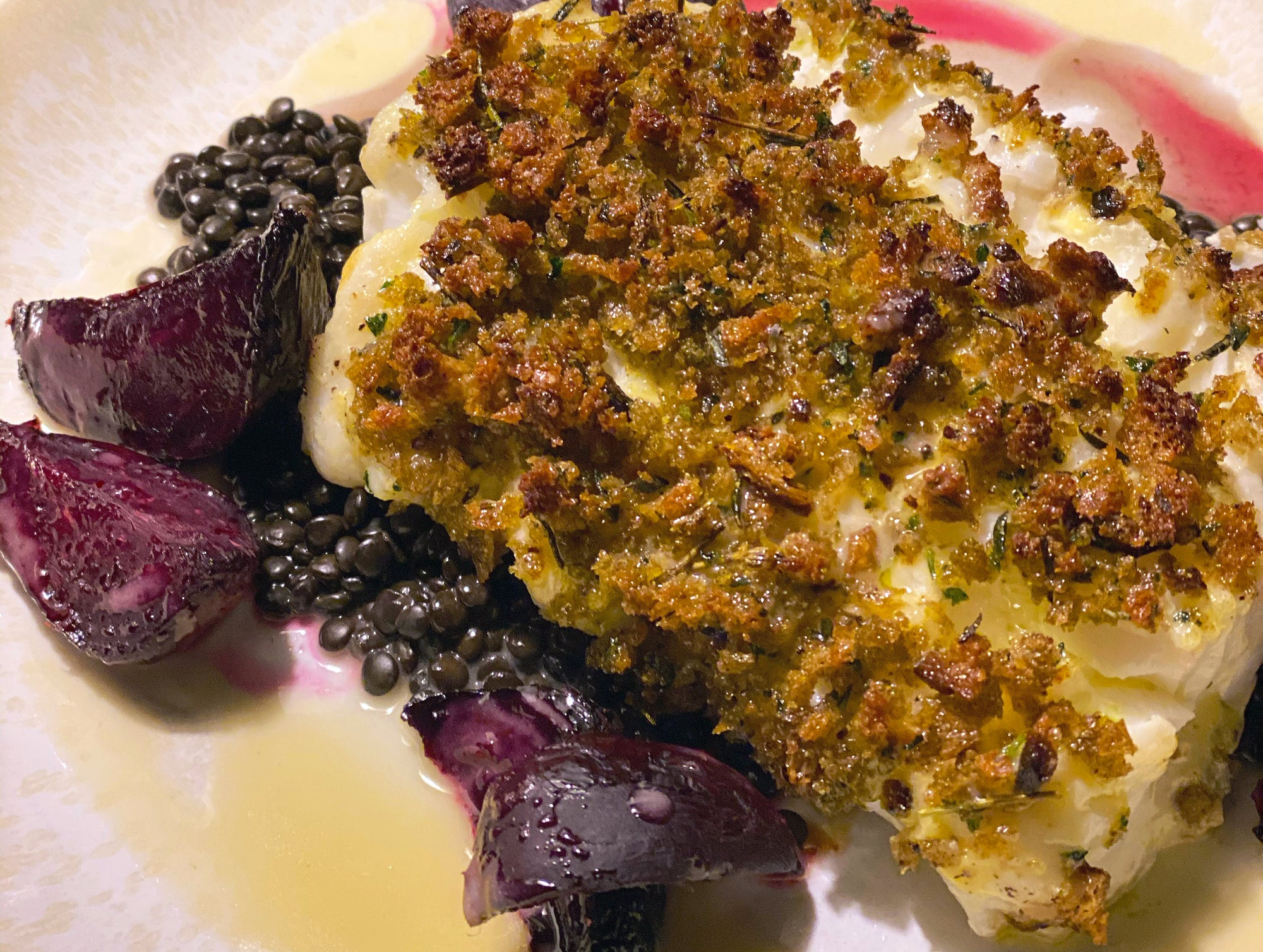 Chefs at Home: Baked Cod with Herbed Breadcrumbs, Roasted Beets and Black Lentils