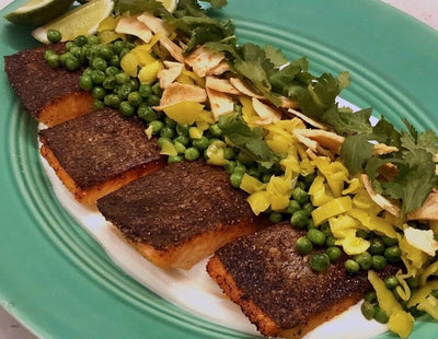Chefs at Home: Crispy Skin ChalkStream Trout with Fresh Herbs and Peas