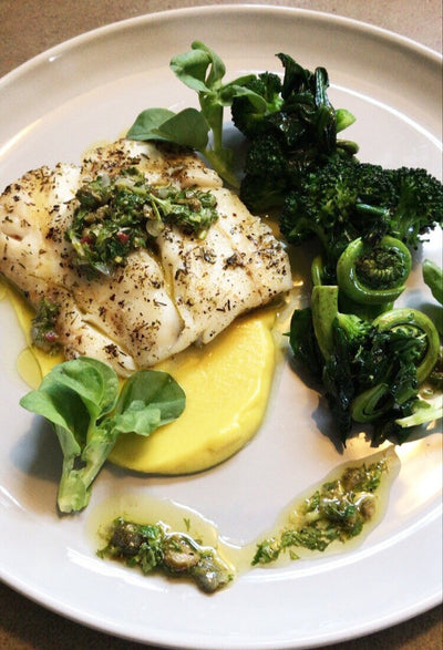 Chefs at Home: Grilled Haddock with Curry Parsnip Puree, Broccoli and Salsa Verde
