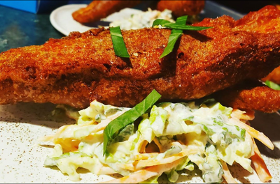 Chefs at Home: Beer Battered Tilapia with Coleslaw