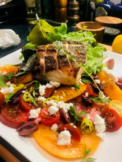 Chefs at Home: Pan-Roasted Striped Bass with Greek Summer Tomato Salad