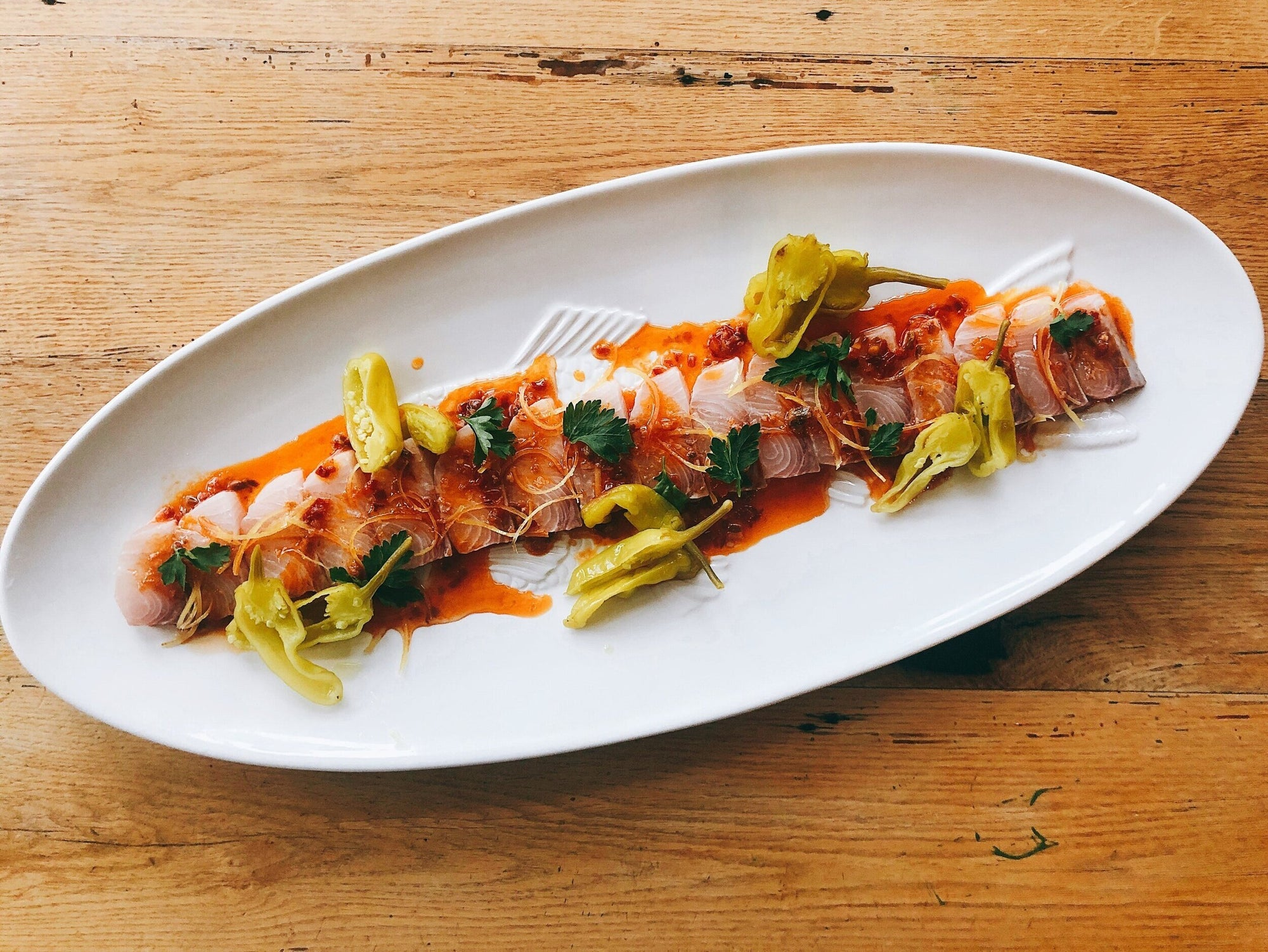 Chefs at Home: King Kampachi Crudo with Calabrian Chili Vinaigrette